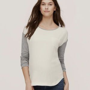 CLEARANCE LOFT sheer front long sleeve blouse